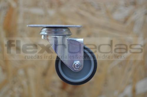ruedas 2 giratorias y 2 fijas  50 mm goma gris
