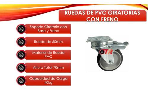 ruedas de pvc giratorias con freno 50mm