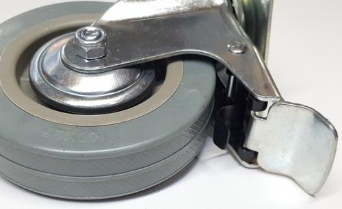 ruedas giratoria 100 mm x 4 con freno y traba de giro 115 kg cada una verashop
