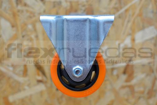 ruedas giratorias 2u  y fijas 2u diámetro 75 mm poliuretano