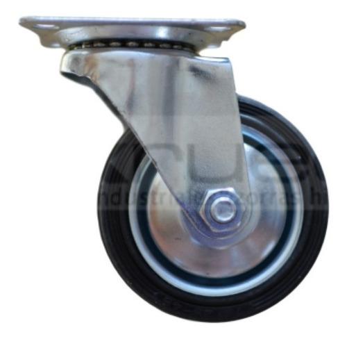 ruedas giratorias (4u) 75 mm diámetro chapa y goma c/rodillo