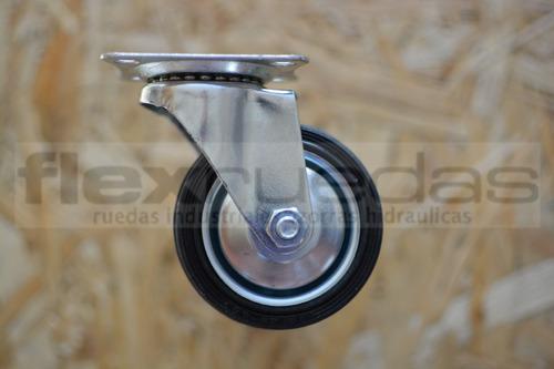 ruedas giratorias (4u) 75 mm (dos con freno) chapa y goma