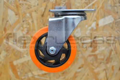 ruedas giratorias (4u) poliuretano diametro 100 mm 2c/freno