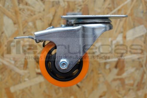 ruedas giratorias (4u) poliuretano diametro 75 mm 2 c/ freno