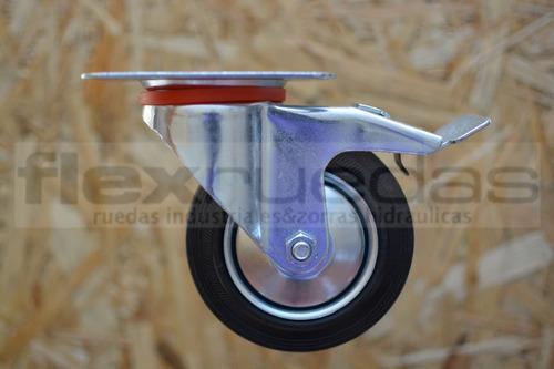 ruedas giratorias (4u)100mm(dos con freno) chapa y goma