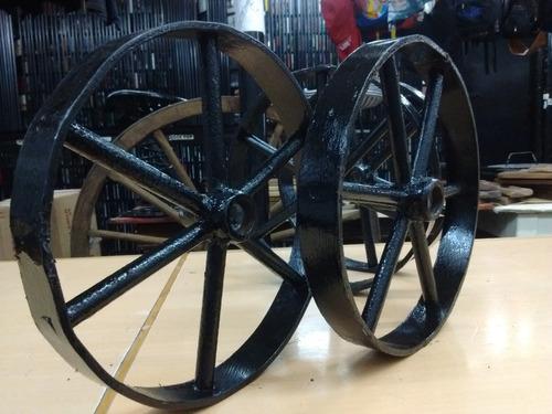 ruedas hierro  25 cm  x 3,5 cm antiguas  precio por  par