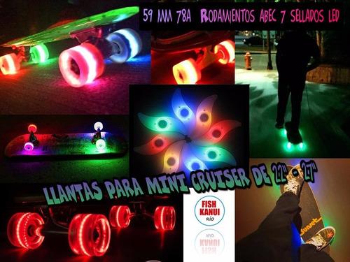 ruedas mini cruiser ,cruiser, skate  con luces led