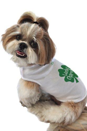 ruff ruff y meow dog tank top, lucky charm, blanco, peque...