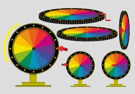 ruleta para premios, juegos, fortuna. payasos. inflador.