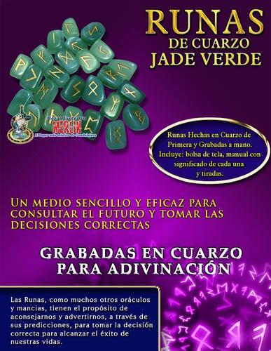 runas de cuarzo jade verde - con manual y bolsa de tela
