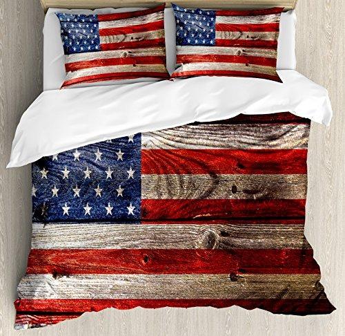 Rústico Estados Unidos Bandera Funda Nórdica Conjunto Tam