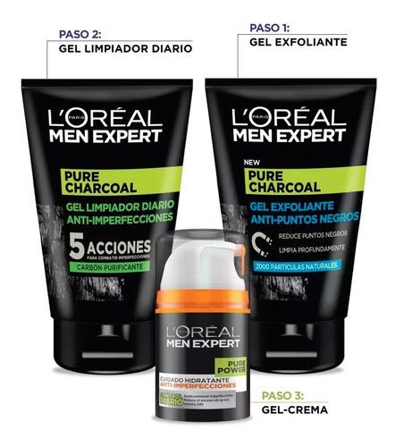 rutina acné pure power para piel grasa men expert l'oréal