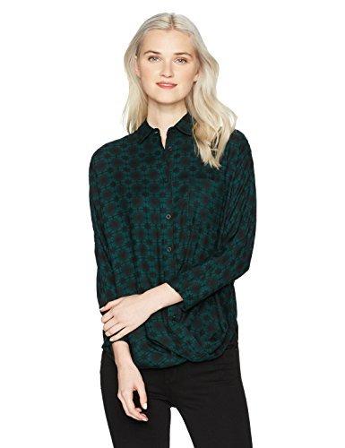 Mujer Con Wm503cap Rvca Para Verde Botones Jardí Camisa qwX5xf5t