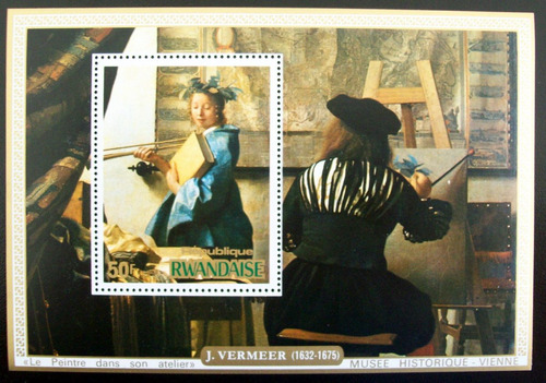 rwanda arte, bloque sc. 683 vermeer 50f 1975 mint l6659