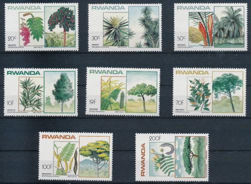 rwanda ruanda 1984 arboles y semillas serie completa mint