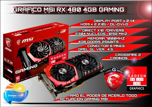 rx 480 msi 4gb gddr5 256 bits grafica gamer 4k 60fps