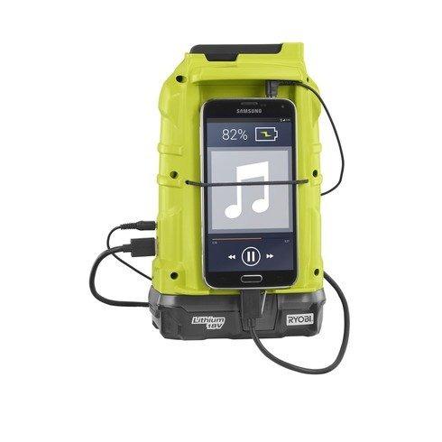 ryobi p742 radio am/fm compacta sin cable de 18 v con tec