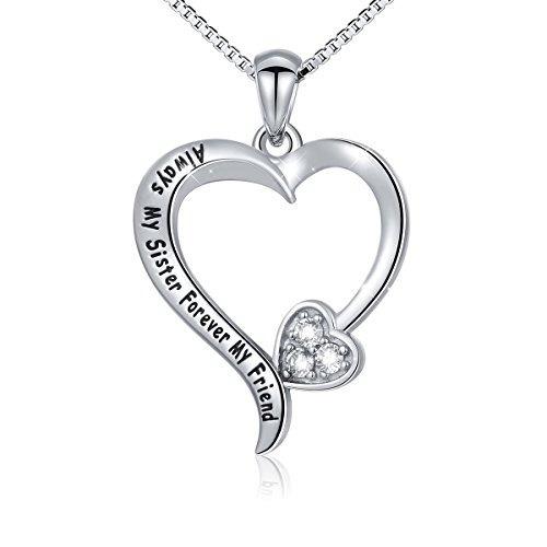 s925 collar de corazón de amor  always my sister forever my