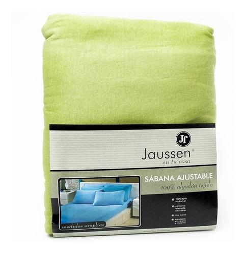 sábana ajustable jaussen jersey 100% algodón (verde, 2 ½)