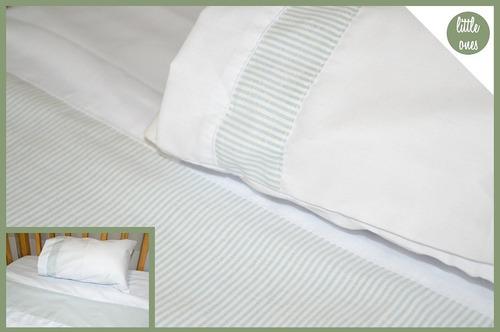 sábana con guarda estampada para cuna de bebe