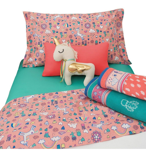 sábana infantiles arco iris 1 1/2 plazas 180 hilos 100% algodón