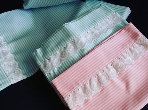 sabana para corral de rayas bordadas para bebes