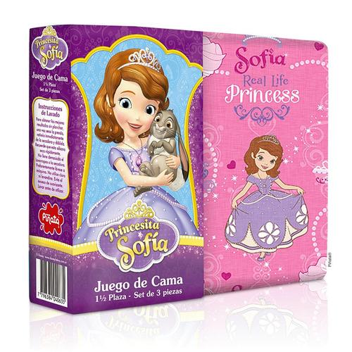 sabana princesita sofia 1 1/2 plazas juego de sábanas piñata
