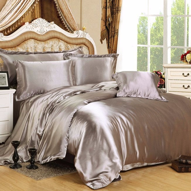 Sabanas en satin color plata cama queen4 fundas royal for Sabanas para cama queen size