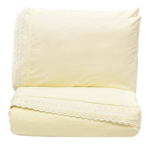 sabanas ks 100% algodón bordadas beige vianney envio gratis