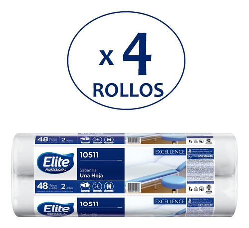 sabanilla elite excellence 1 hoja 48 metros pack 4 rollos