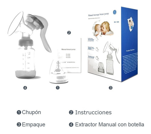 sacaleche extractor de leche materna manual c/chupón mamila