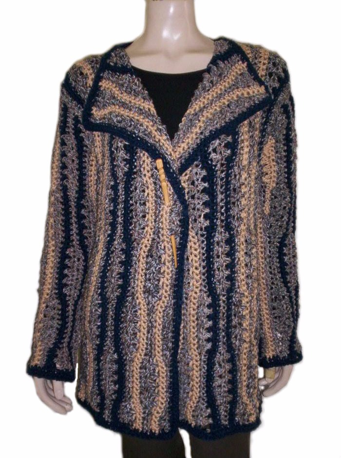 Lana Abrigo A Tejido Crochet Mano Mujer Único Artesanal Saco fSw011
