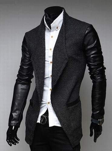 saco blazer hombre corte slim fit mangas piel moda importada