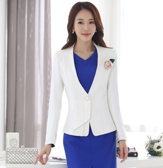 9955462a69866 Saco Blazer Mujer Corte Formal Slim Fit Manga Larga Blanco - U S ...