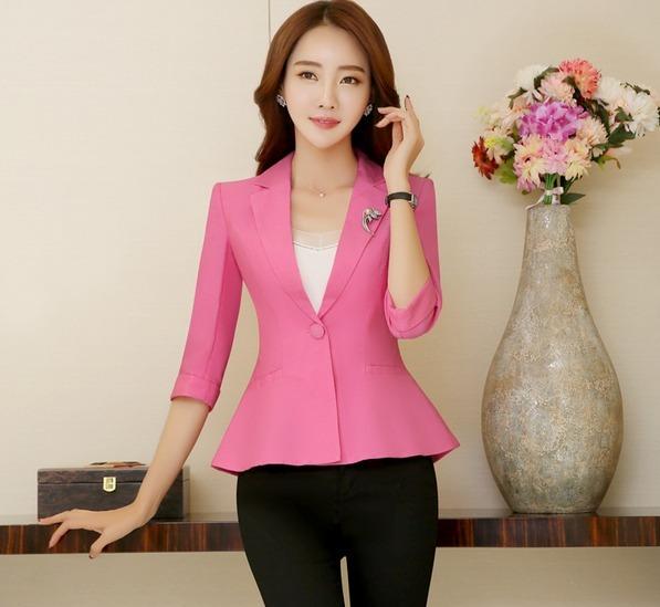 f6d28d99ed79f Saco Blazer Mujer Corte Moderno Rosa Slim Fit Manga 3 4 - U S 70.00 ...