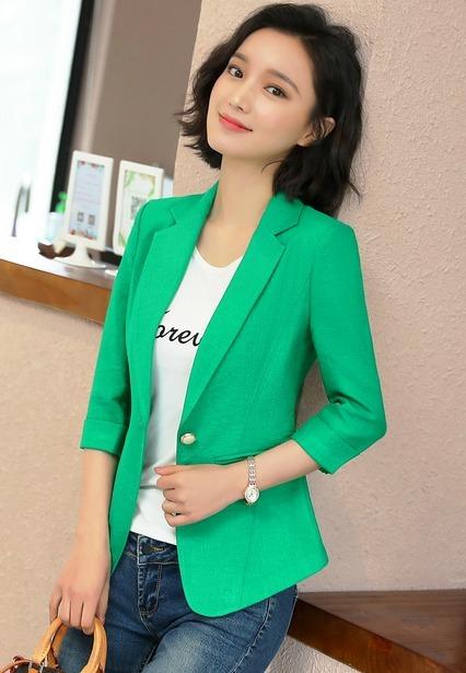 dd96ff7f83880 Saco Blazer Mujer Corte Moderno Slim Fit Un Botón Manga 3 4 - U S ...