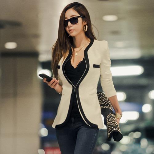 a143f9a464cbe Saco Blazer Mujer Elegante Moda Juvenil Slim Fit Temporada - U S ...