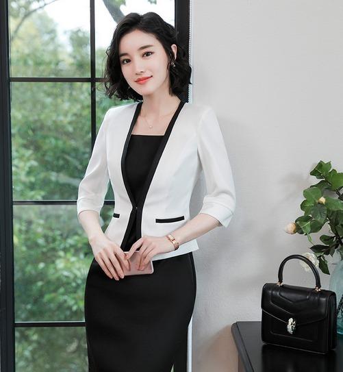 aef94d6f9c1f2 Detalles Detalles Slim 34 Moderno U Color Manga Saco Saco Saco Fit Mujer  Blazer s Ygqnwx07