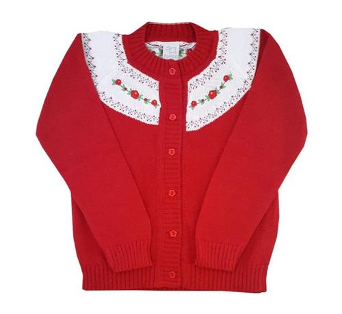saco bordado para niñas de hilo color rojo-pompas