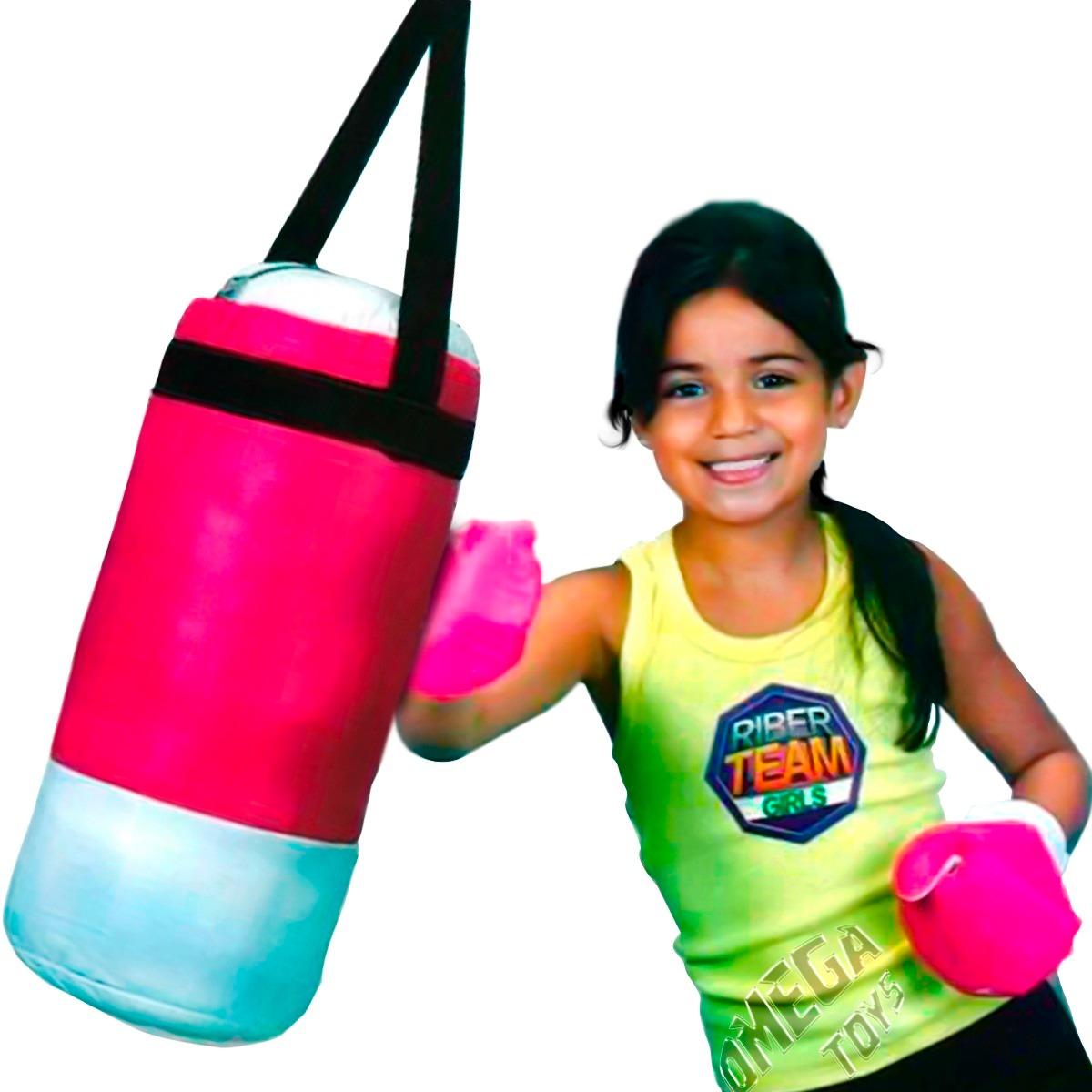 9d2d7c899 saco boxe rosa infantil pequeno com par de luvas riber brink. Carregando  zoom.
