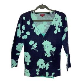 Saco Cardigan Importado Azul Con Flores Verdes Merona