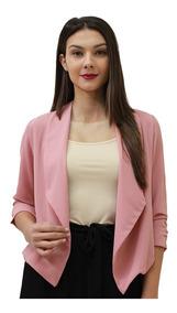 Saco Casual Vestir Dama Mujer Palo De Rosa Manga 34 Otoño