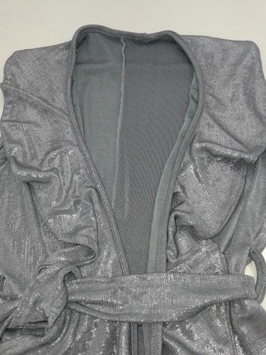 saco chaqueta blazer sin mangas fiesta noche plateado