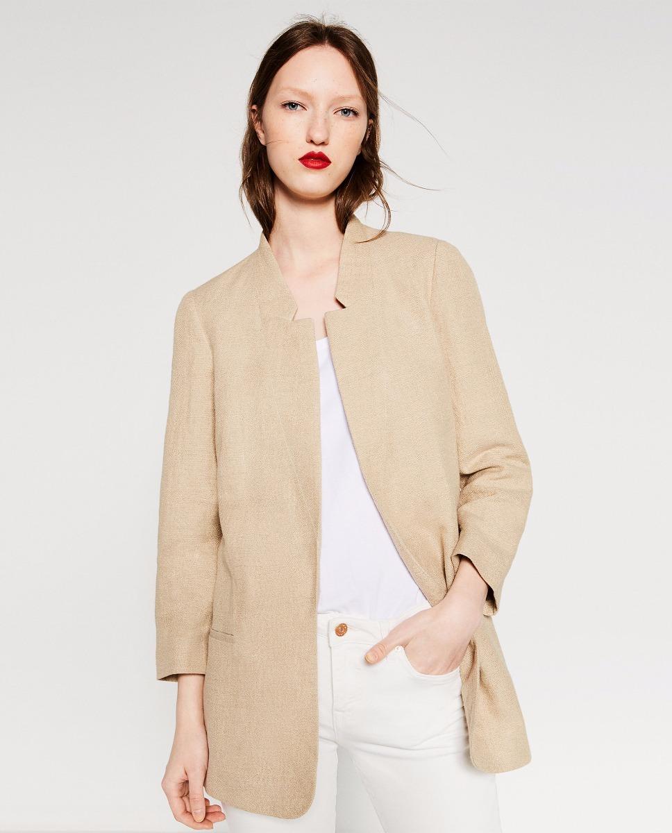 ba2a4eda8 Saco Chaqueta Levita Lino Zara Woman M #403 - $ 629.00