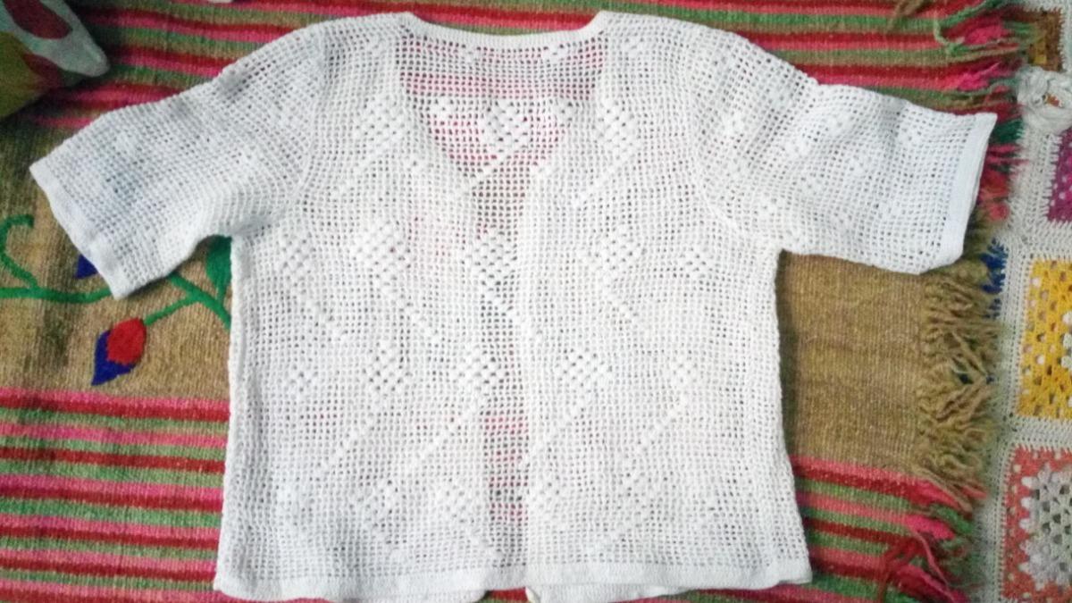 Saco Corto Tipo Bolero Tejido Al Crochet Manga Corta - $ 200,00 en ...