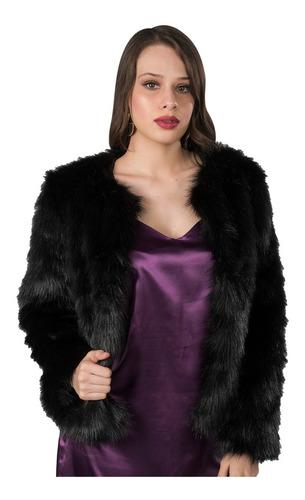 saco dama pelos blazer corto abrigo peluche mujer negro