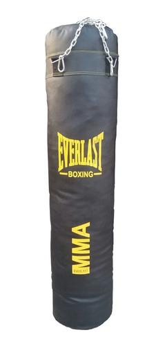 saco de box everlast nacional de 1.50cm con relleno y cadena
