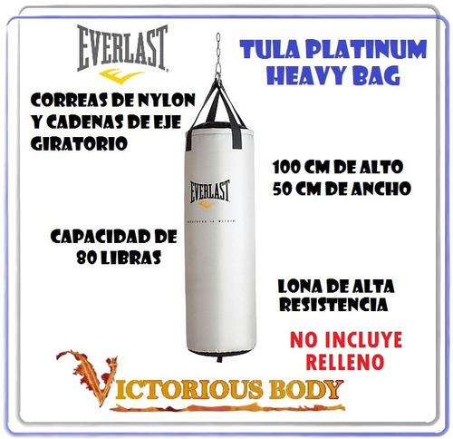 saco de boxeo everlast platinum hevy bag 80 libras tula mma