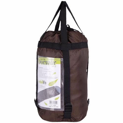 saco de dormir camping termico grande sirius marrom echolife