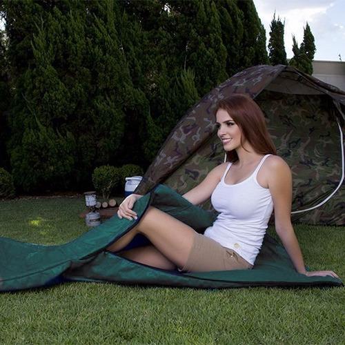 saco de dormir com zíper para acampar verde solteiro